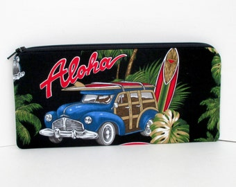 Woodie Surf Car, Long Zippered Pencil Pouch,  Black Retro Aloha