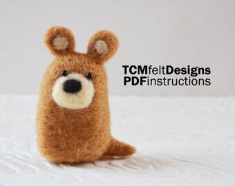PDF Needle Felting Bear instructions, DIY wool fiber animal instructions for beginners