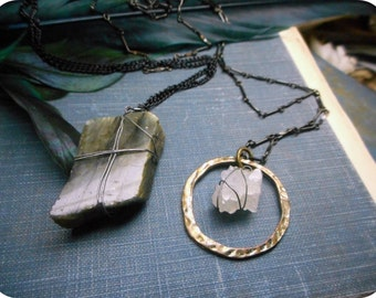 Runes. Isa or Laguz - Ice Or Water - Crystal Quartz Halo or Blue Flash Labradorite stone Pendant & gunmetal necklace. Rustic solitary stone