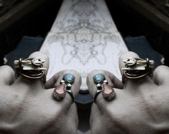 Wolfbane. Coyote Vertebra Tail Bone & Rustic copper metalwork alchemy wire ring.
