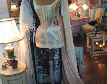 Vintage Inspired Dress Form Mannequin Music Sheet French Lace Boutique Display FREE SHIP and Layaway Available
