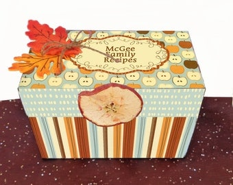 Sale Wooden Recipe Box Autumn Harvest Custom and Personalized Scented with Apple Pie Spice
