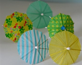 10 Garden themed umbrella cocktail toppers, green, blue, yellow, drink umbrella, wedding decoration, paper ice-cream decoration, easter