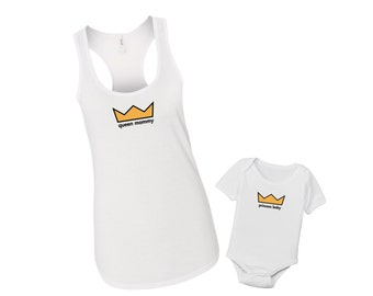 Queen + Prince or Princess Shirt Set - Matching Mommy & Me Tank Top