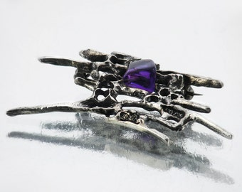 Vintage Brooch | Brutalist Silver & Natural Amethyst Brooch Pin | 835 Silver Abstract Design Modernist Silver Brooch | Rich Purple Gemstone