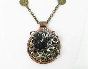 Octopus Steampunk Necklace, Assemblage Necklace, Steampunk Jewelry, Octopus Pendant Necklace, One of a Kind Jewelry,Statement Necklace,SN002