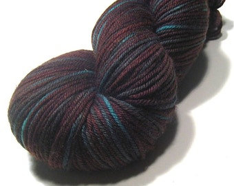 DK yarn hand dyed - superwash merino cashmere nylon - Ocean Driftwood - earthy knitting yarn - aqua turquoise brown - yarn