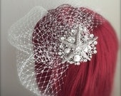 Beach Wedding veil, Sea star Crystal Comb Birdcage Veil Starfish Pearl Rhinestone Comb 9, 12 inch French net veil white, ivory birdcage veil