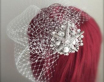 Beach Wedding veil, Sea star Crystal Comb Birdcage Veil Starfish Pearl Rhinestone Comb 9, 12 inch French net veil white, ivory birdcage veil