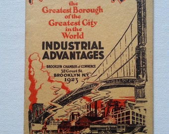 1923 Brooklyn, New York Industrial Advantages Softcover Book - Great Black & White Aerial Photos
