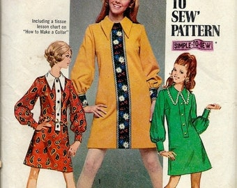 1960's Simplicity Pattern No. 8366 - Beatle Era Mini Dress with Pointed Collar and Full Long Sleeves , How to Sew Pattern  Bust 38