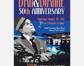 Frank Sinatra Inspired Invitation, Anniversary Invitation, Vintage Party Invitation, Classic Party Invitation, Custom Party Invitation