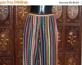 ON SALE Vintage Multi-colored striped evening Palazzo pants with gold thread pattern