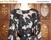ON SALE 1980s Hanae Mori Black Abstract Drop Waist Silk Dress Sz 14