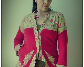 Upcycled Red Cashmere & Floral lambswool Cardigan Sweater