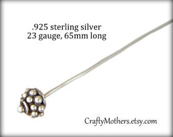 Use TAKE10 for 10% off! FOUR Sterling Silver Fancy Headpins - 23 gauge / 65mm long, 4 pieces, earrings, necklace, artisan-made supplies