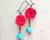 Turquoise Red Earrings Frida Rose by MinouBazaar