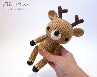 MADE to ORDER - Amigurumi Woodland Critter Deer - crochet animal plush, amigurumi deer toy, reindeer plush, crochet deer doll