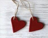 Salt Dough Ornament, Red Heart Ornament, Rustic Red Heart,  Guest Favors, Valentine Heart, Heart Ornament