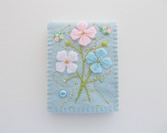 Needle Book Pastel Blue Felt Cover with Hand Embroidered Felt Flowers Sequin Flowers and Swirls Handsewn