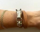 Tan leather horse bit bracelet snaffle bracelet equestrian jewelry horse lover gift horse bit equestrian women's leather bracelet