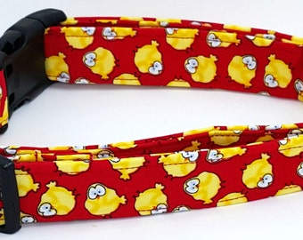 Little Chickies Yellow Chicks on Red Farm Country Chicken Dog Collar