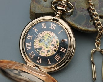 Rose Gold Mechanical Pocket Watch with Watch Chain - Groomsmen Gift - Magnifying Crystal Cover - Engravable Watch - Item MPW277