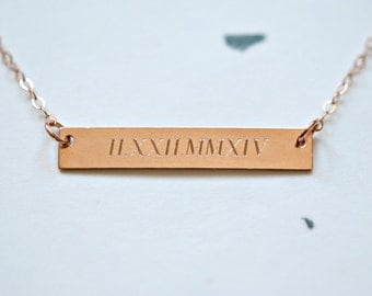 Roman numeral necklace, rose gold engraved bar, custom coordinates necklace, rose gold name bar, GPS, personalized jewelry - Theresa