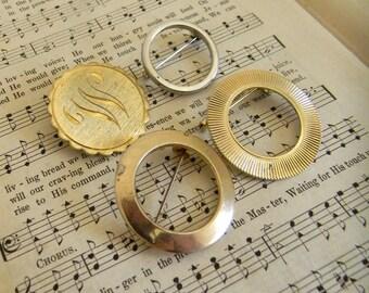 Vintage Circle Pin, Lot of 4 Circle Pins, 1960s Circle Brooch, Golt Tone Metal Cirlce Pin, Jewelry Destash Lot