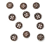 6mm Antique Copper Filigree Bead Caps - use on rosary chain necklaces or give your next jewelry project a vintage- Victorian- look