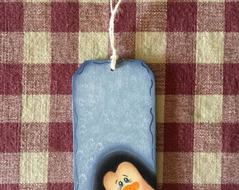 Small Blue Gift Tag Whimsical Penguin Wood Christmas Ornament