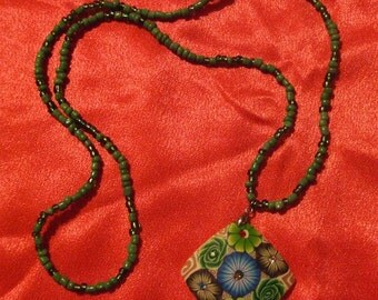 Green Flowered Pendant Necklace