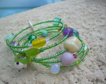 Unique Summer fun memory wire Bracelet with accent Pearls and lampwork art beads,  glass beads, super fun!