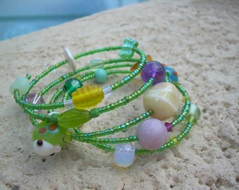 Unique Summer fun memory wire Bracelet with accent Pearls and lampwork art beads,  glass beads, super fun