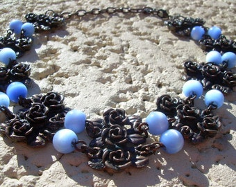 Unique Choker Hand Made Bronze tone Antiqued Floral rose connectors, and Blue Cats eye Glass beads Beautiful
