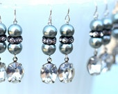 Gray Pearl & Crystal Bridesmaid Earrings, Dangle Earrings, White, Ivory, Champagne, Silver, Blush Pink Pearl Rhinestone Earrings for Bride,