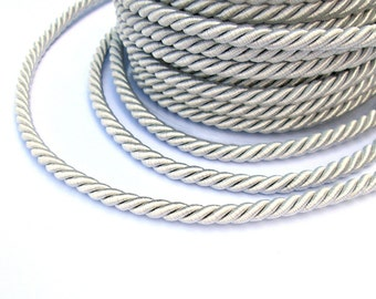 Twisted silk cord, 5mm, silver gray satin rope, 2 meters