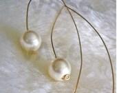 Open Hoop Large Hook Pearl Earrings Curve 14k Gold Filled Swarovski 10mm June birth stone White Pearl 27 colors Minimalist Long Ear Wires