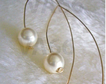 Open Hoop Large Hook Pearl Earrings Curve 14k Gold Filled Swarovski 10mm June birth stone White Pearl 27 colors Minimalist Long Ear Wires