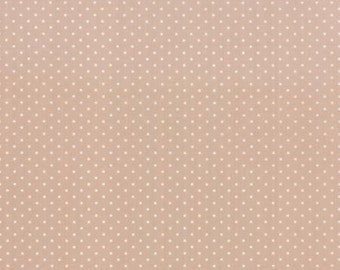Kindred Spirits Bunny Hill MODA Fabric White Polka Dot Dots on Tan Taupe 2896 23