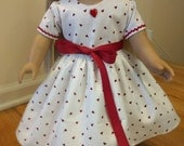 Valentine's Day Doll Dress and panties, American Girl, 18 inch doll