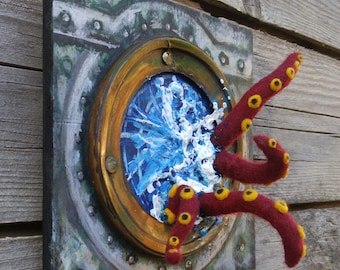 Red Felt Tentacles in Porthole