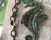 Seahorse bracelet-coastal beach jewelry- gift for her - bracelet for her- bracelet with seahorse