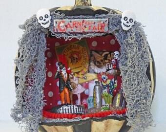 Pumpkin Diorama - Halloween Decor -  Creepy Carnival Diorama - Spooky Clown Circus