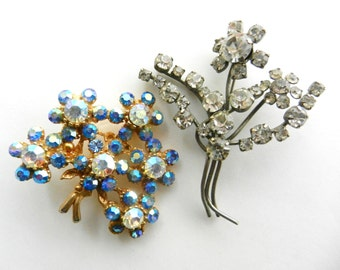 Vintage Rhinestone Floral Spray Brooches - collection of floreal bouquet brooches with stunning chatons and dazzling - 2 pcs--art.202/4 -