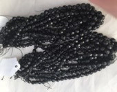 Victorian Mourning bead lot Antique Black Jet beads Faceted beads Flapper designs  Funeral beads 7 mm - 25x beads 1 strand