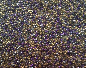 Antique French steel cut beads  26 BPI  metal seed beads  purple gold silver micro beads vintage stash