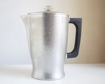 Percolator Coffee Pot, Hammered Aluminum, Club Hammercraft, Mid Century Modern, Gift For Dad, Housewarming, Great For Camping