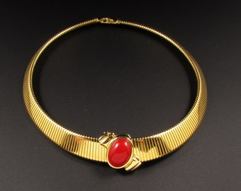 Monet Collar Necklace, Omega Chain Necklace, Ribbed Necklace, Red Necklace, Statement Necklace, Gold Necklace