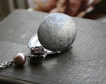 Silver locket necklace, flower locket necklace, oval locket necklace , photo locket, locket jewelry,  locket Pendant - Eva